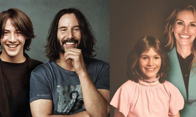 Increíbles fotografías de actores famosos posando consigo mismos de jóvenes